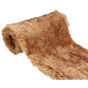 Chemin de table en imitation fourrure, marron, 40 x 150 cm