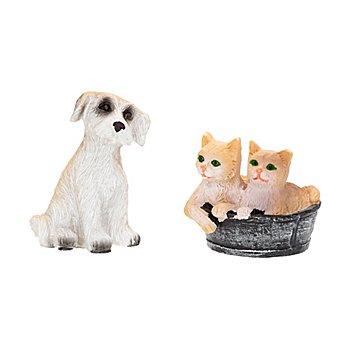 Chats et chien, 2–3,5 cm, 3 pièces