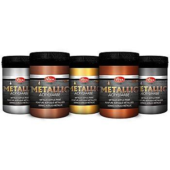 Metallic-Acrylfarbenset, 5x 100 ml
