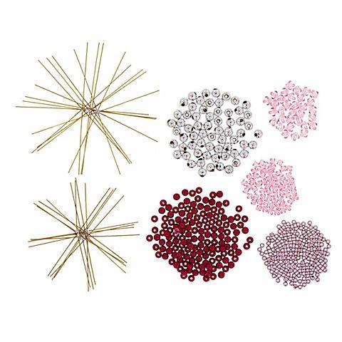 Image of Drahtsterne-Set, beere-rosa-silber, 8 Stück