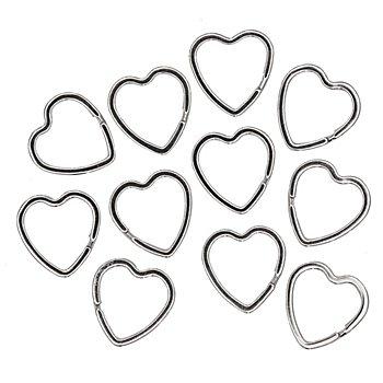 Schlüsselringe 'Herz', silber, 30 mm, 15 Stück