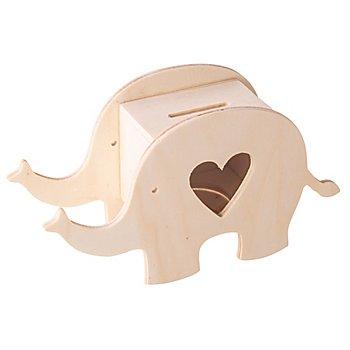 Spardose 'Elefant' aus Holz, 16,4 x 5,5 x 9 cm
