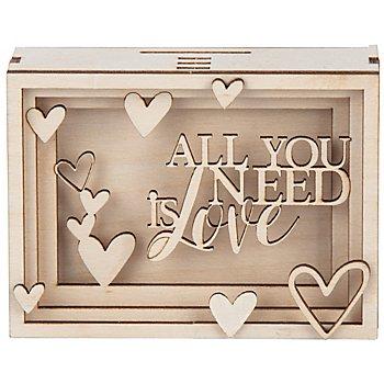 Holzbausatz 3D-Geschenkbox 'Love', 11,5 x 8,5 x 5 cm