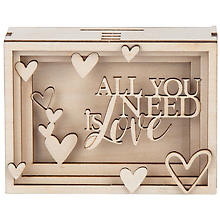 Kit créatif en bois Tirelire/boîte cadeau 'All you need is love', 11,5 x 8,5 x 5 cm