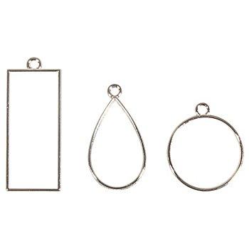 Metallfassungen Schmuckanhänger, silber, 3 Stück