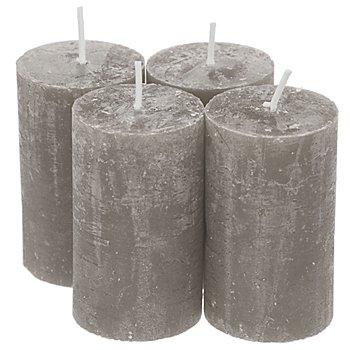 Hochwertige Rustikkerzen, grau, 6 cm Ø, 10 cm hoch, 4 Stück