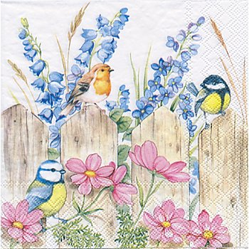 Papierserviette 'Vögel auf dem Zaun', 33 x 33 cm, 20 Stück