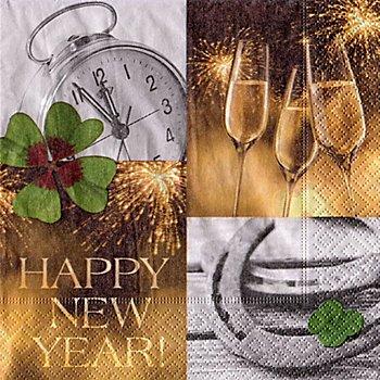 Serviettes en papier 'Happy New Year', 33 x 33 cm, 20 pièces