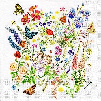 Serviettes en papier 'pré fleuri', 33 x 33 cm, 20 pièces