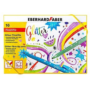 Glitzer-Filzstifte, bunt + pastell, 16 Stück