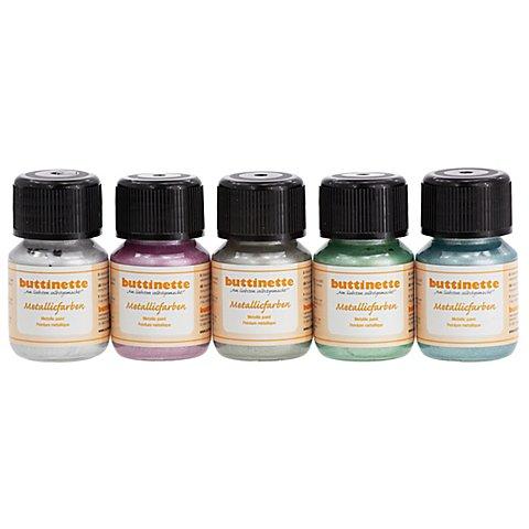 Image of buttinette Metallicfarben pastell, 5x 30 ml