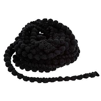 Galon de pompons, noir, 8 mm, 5 m