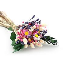 Fleurs séchées, écru-blanc-rose, 6 bouquets
