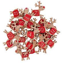 Adventskalender-Zahlen 'Rentier' aus Holz, 4 cm