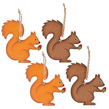 Holz-Eichhörnchen, 11 cm, 4 Stück