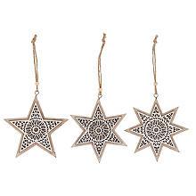 Étoiles à suspendre en bois, beige-blanc, 11,5 cm, 3 pièces