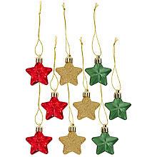 Étoiles à suspendre, rouge-vert-doré, 4 cm, 9 pièces
