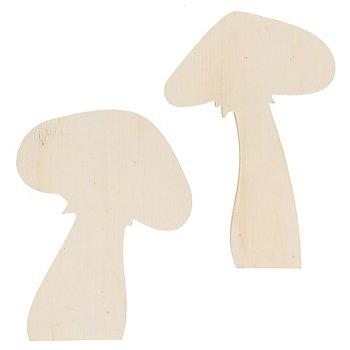 Pilze aus Holz, 20 und 18 cm, 2 Stück