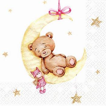 Papierserviette 'Mondbär rosa', 33 x 33 cm, 20 Stück