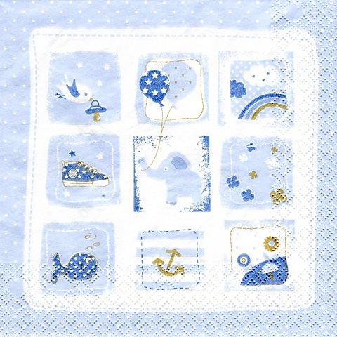 "Image of Papierserviette ""Babymotive blau"", 33 x 33 cm, 20 Stück"