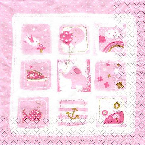 "Image of Papierserviette ""Babymotive rosa"", 33 x 33 cm, 20 Stück"