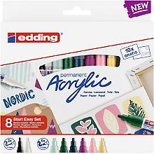 edding Kit créatif marqueurs acryliques 'nordic', 8 feutres et 10 cartes postales