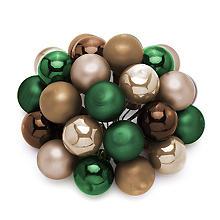 Weihnachtskugeln am Draht, grün, braun, creme, 2 cm Ø, 24 Stück