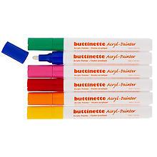buttinette Marqueurs acryliques, couleurs primaires, épaisseurs : 4 mm / 1–5 mm