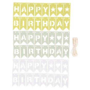 Mini-Filz-Wimpelketten 'Happy Birthday', grün/mint/blau, 49-teilig