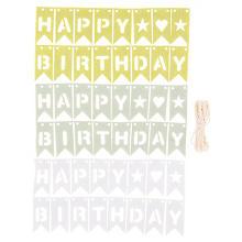 Mini-guirlandes à fanions en feutrine 'Happy Birthday', vert/menthe/bleu, 49 pièces