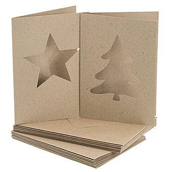 buttinette Passepartoutkarten 'Stern & Tanne', braun, A6 / C6, je 10 Stück