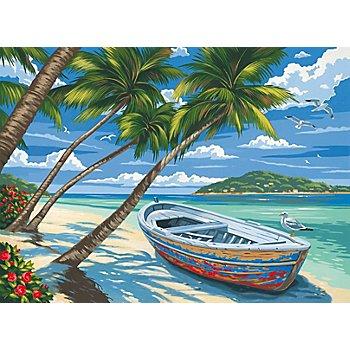 Malen nach Zahlen mit Acrylfarben 'Palmen am Strand', 39 x 30 cm