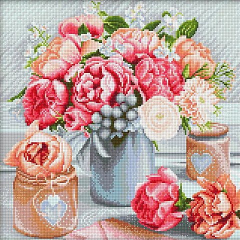 """Image of Diamantenstickerei-Set """"Blumenstrauss rosa"""", 40 x 40 cm"""