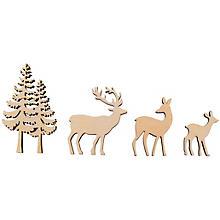 Holz-Streudeko Hirsch/Baum, 4-teilig, natur, 4–8 cm