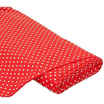 Baumwollstoff Tupfen 'Mona', rot/weiss, 5 mm Ø