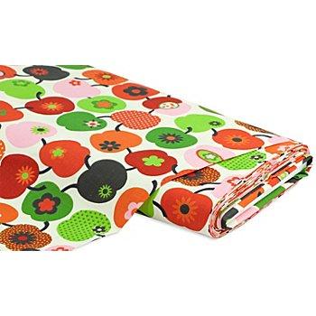 Tissu coton 'Pommes rétro', rouge/vert