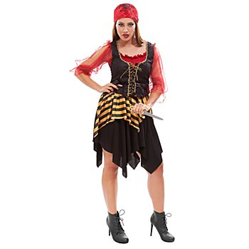 Déguisement 'pirate' femme, rouge/or