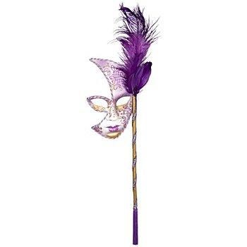 Loup vénitien avec tige et plumes, violet
