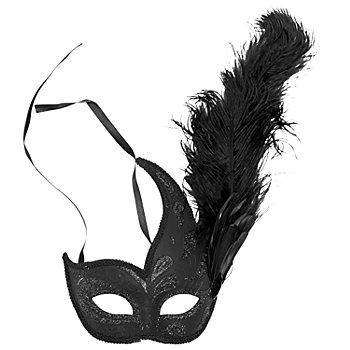 Venezianische Glitzermaske, schwarz