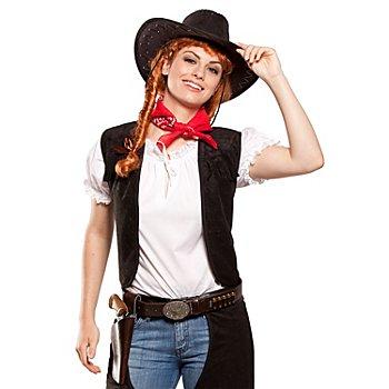 Gilet de cowboy, noir, pour femmes
