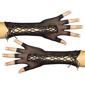 Schnür-Handschuhe, schwarz