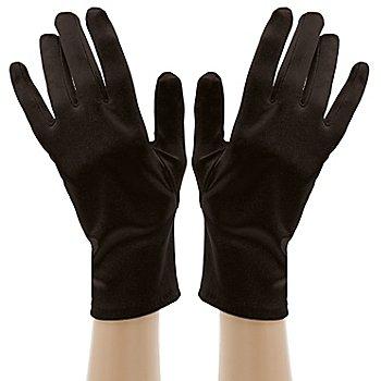 Satinhandschuhe kurz, schwarz