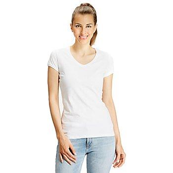 Shirt mit V-Ausschnitt für Damen, weiss
