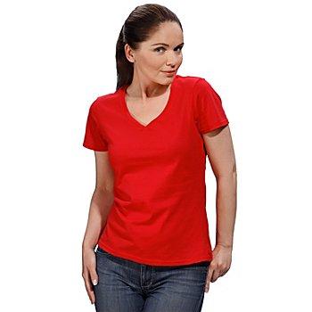 Shirt mit V-Aussschnitt für Damen, rot
