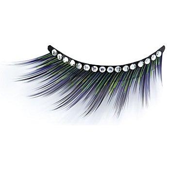 EULENSPIEGEL Wimpern mit Strass-Steinchen, lila/grün