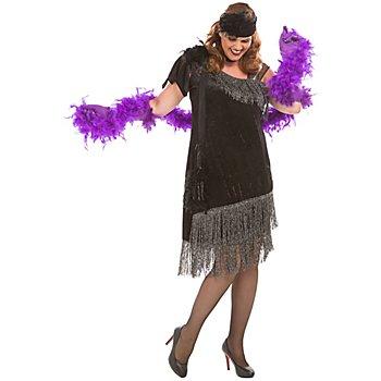 Charleston Kleid 'Vanessa', schwarz/silber