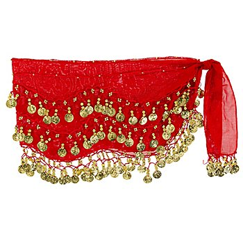 Hüft- oder Kopftuch, rot/gold