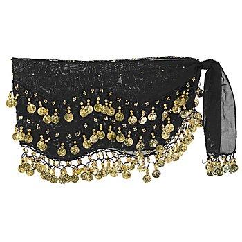 Hüft- oder Kopftuch, schwarz/gold