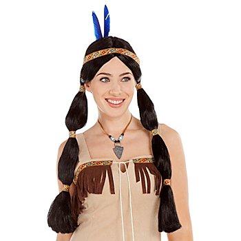 Zopfperücke Indianerin, schwarz