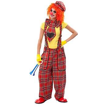 Clown-Latzhose und Riesenkrawatte für Damen, rot